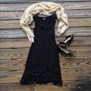 Flirty BCBG black ruffle dress